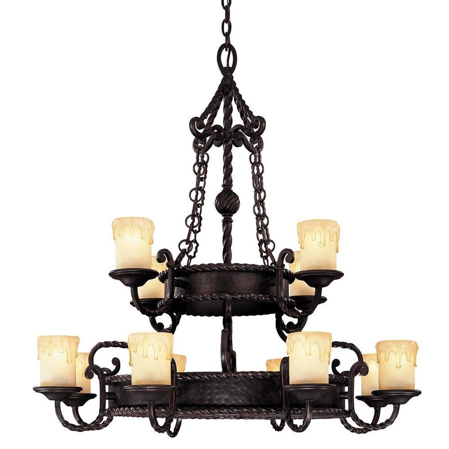 Shandy 36.75-in 12-Light Slate Candle Chandelier