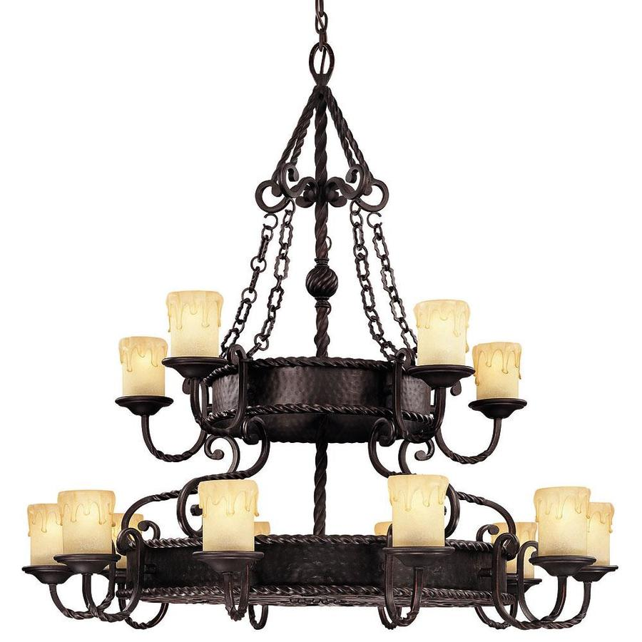 Shandy 45-in 15-Light Slate Candle Chandelier