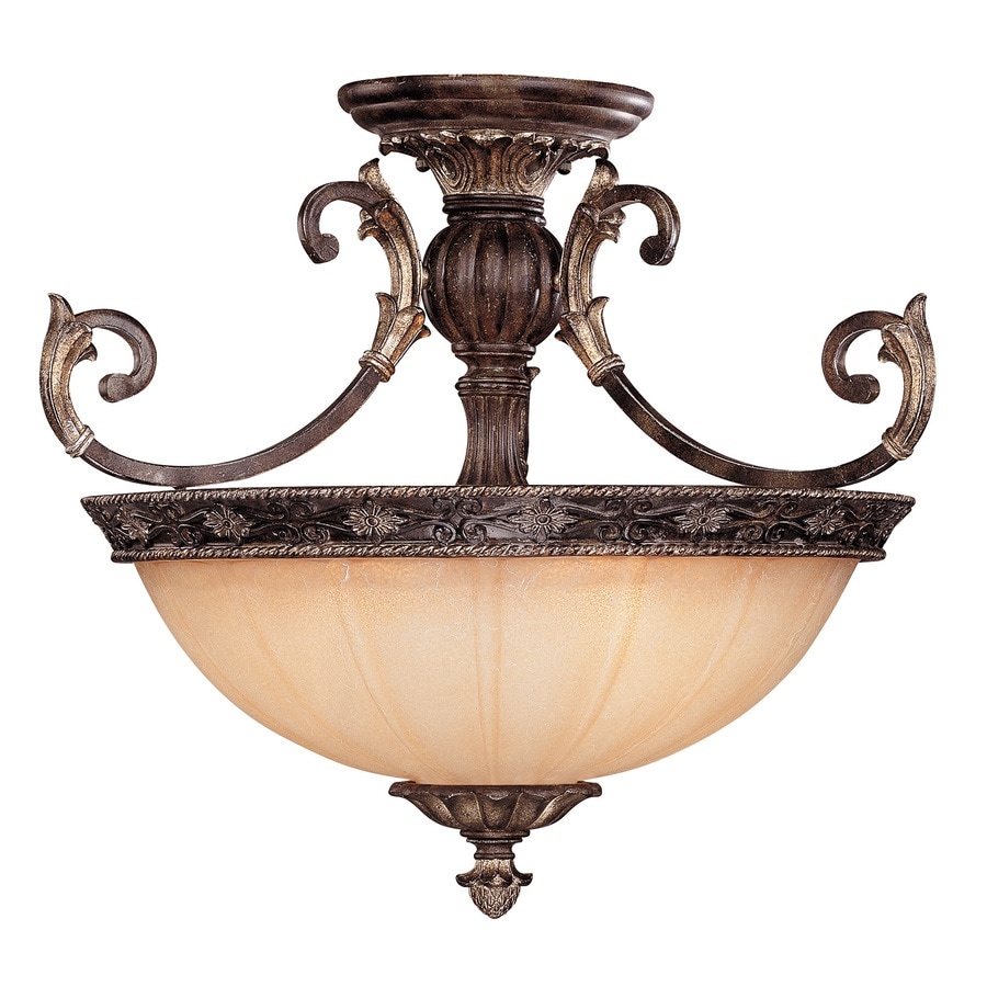 24-in W Moroccan Bronze Textured Semi-Flush Mount Light