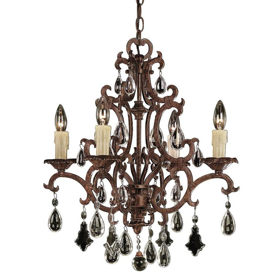 Shandy 21-in 4-Light New Tortoise Shell Clear Glass Candle Chandelier