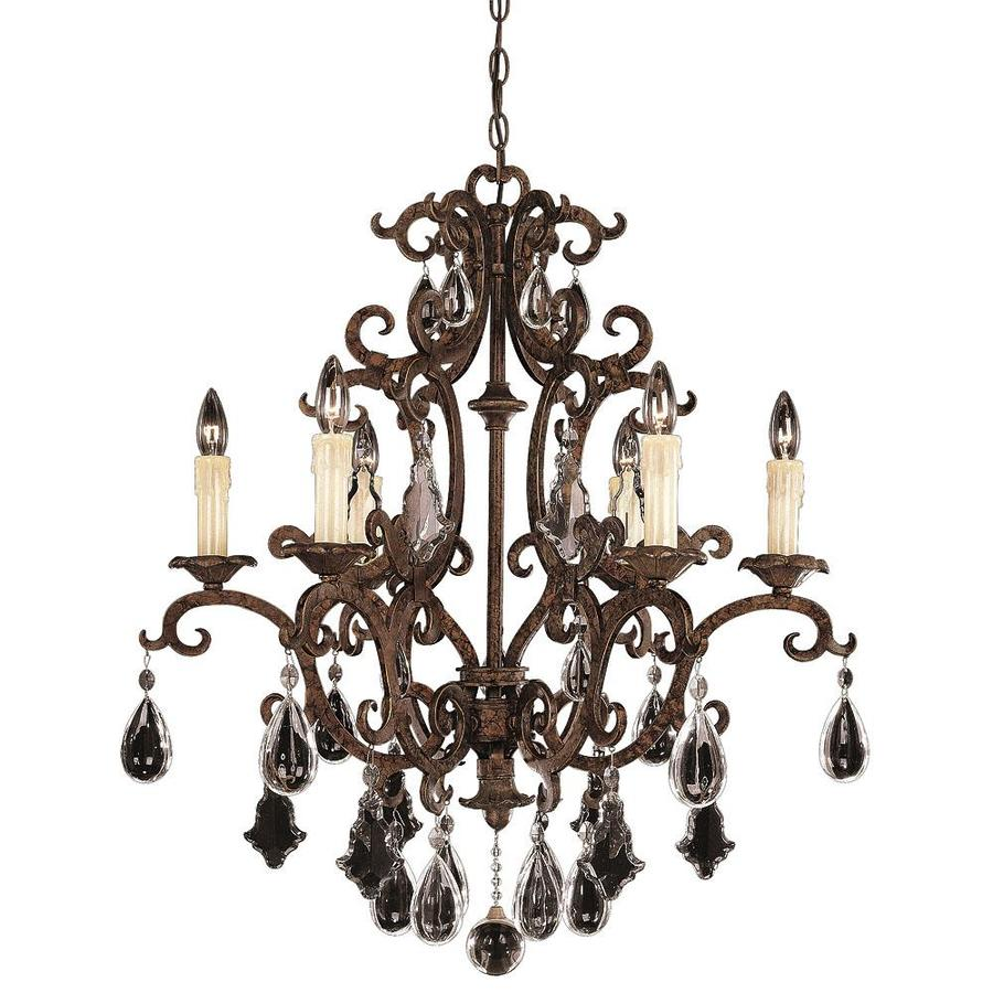 Shandy 28-in 6-Light New Tortoise Shell Clear Glass Candle Chandelier