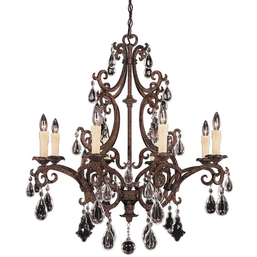 Shandy 33-in 8-Light New Tortoise Shell Clear Glass Candle Chandelier
