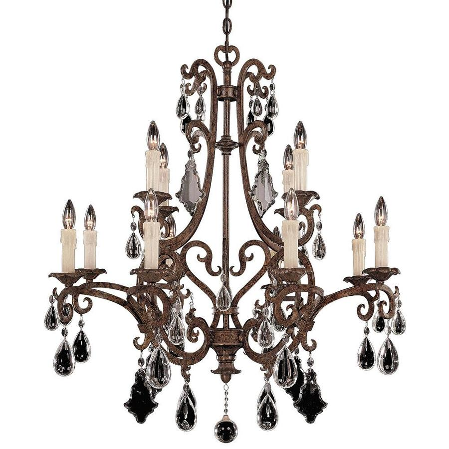 Shandy 33-in 12-Light New Tortoise Shell Clear Glass Candle Chandelier
