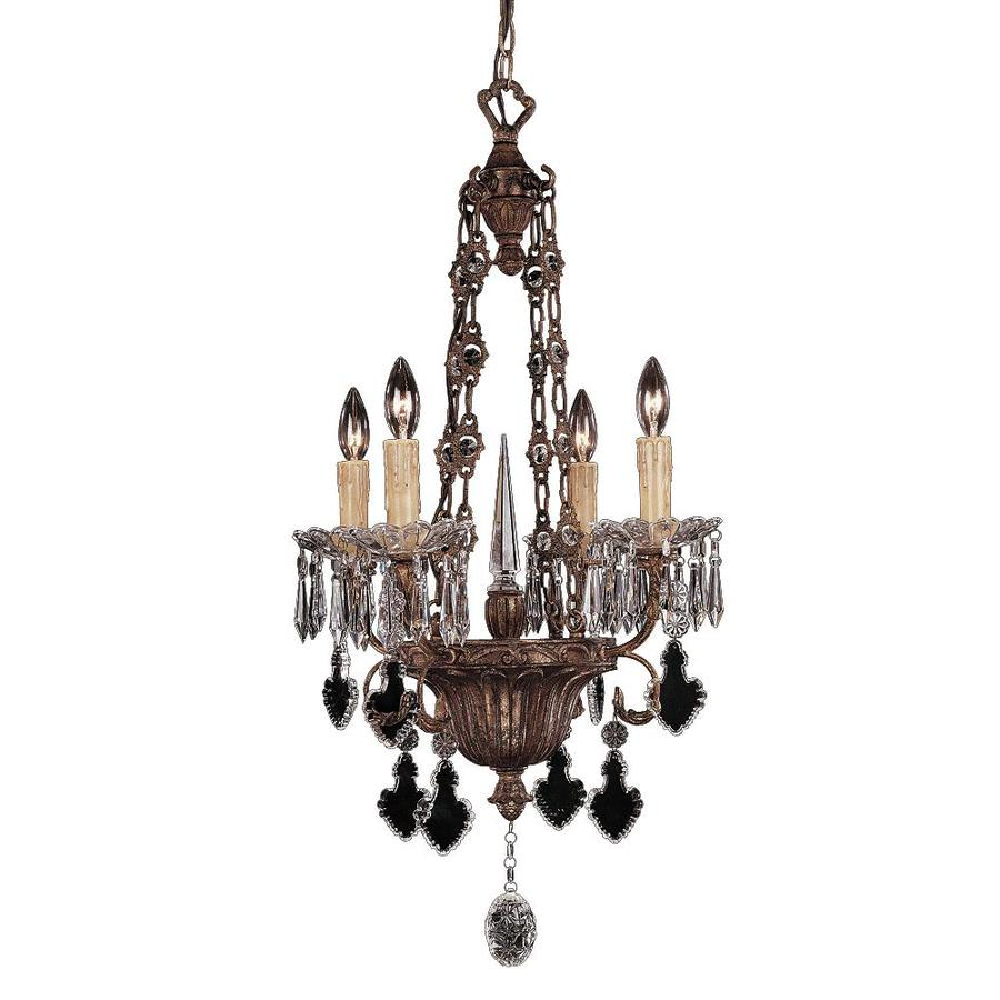 Shandy 18-in 4-Light Vintage Gold Clear Glass Candle Chandelier