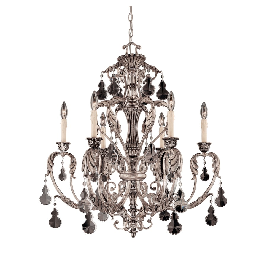 Shandy 30-in 6-Light Silver Lace Clear Glass Candle Chandelier