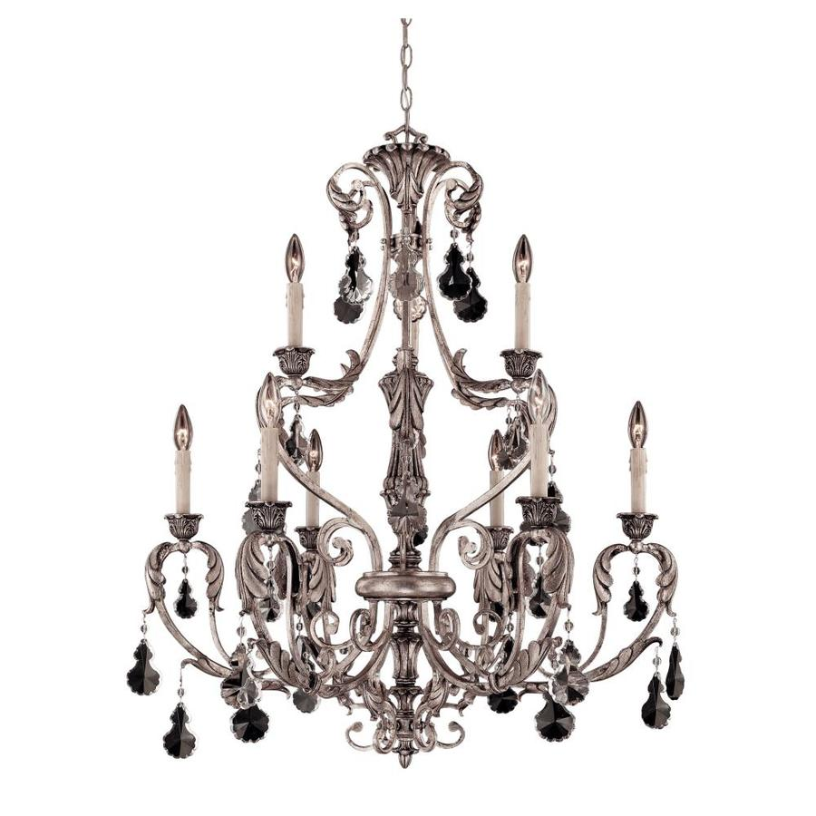Shandy 33-in 9-Light Silver Lace Clear Glass Candle Chandelier