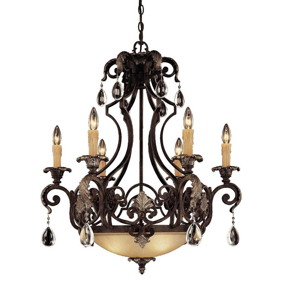 Shandy 28-in 6-Light Moroccan Bronze Clear Glass Candle Chandelier