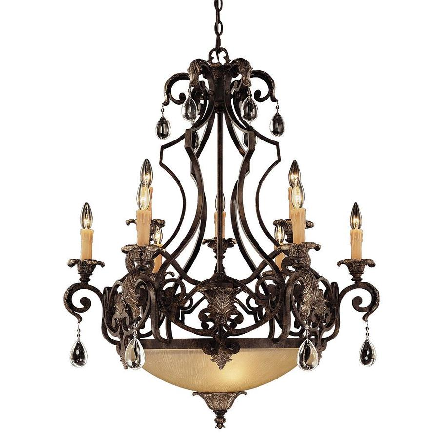 Shandy 33-in 9-Light Moroccan Bronze Clear Glass Candle Chandelier