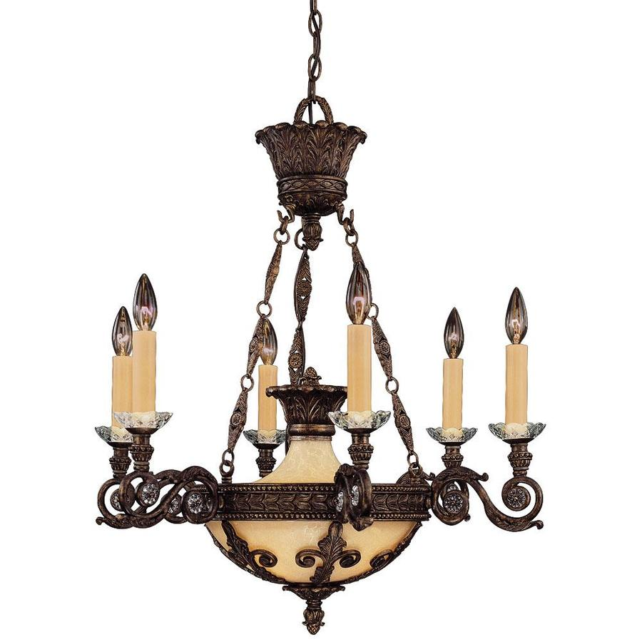 Shandy 27-in 6-Light New Tortoise Shell Candle Chandelier