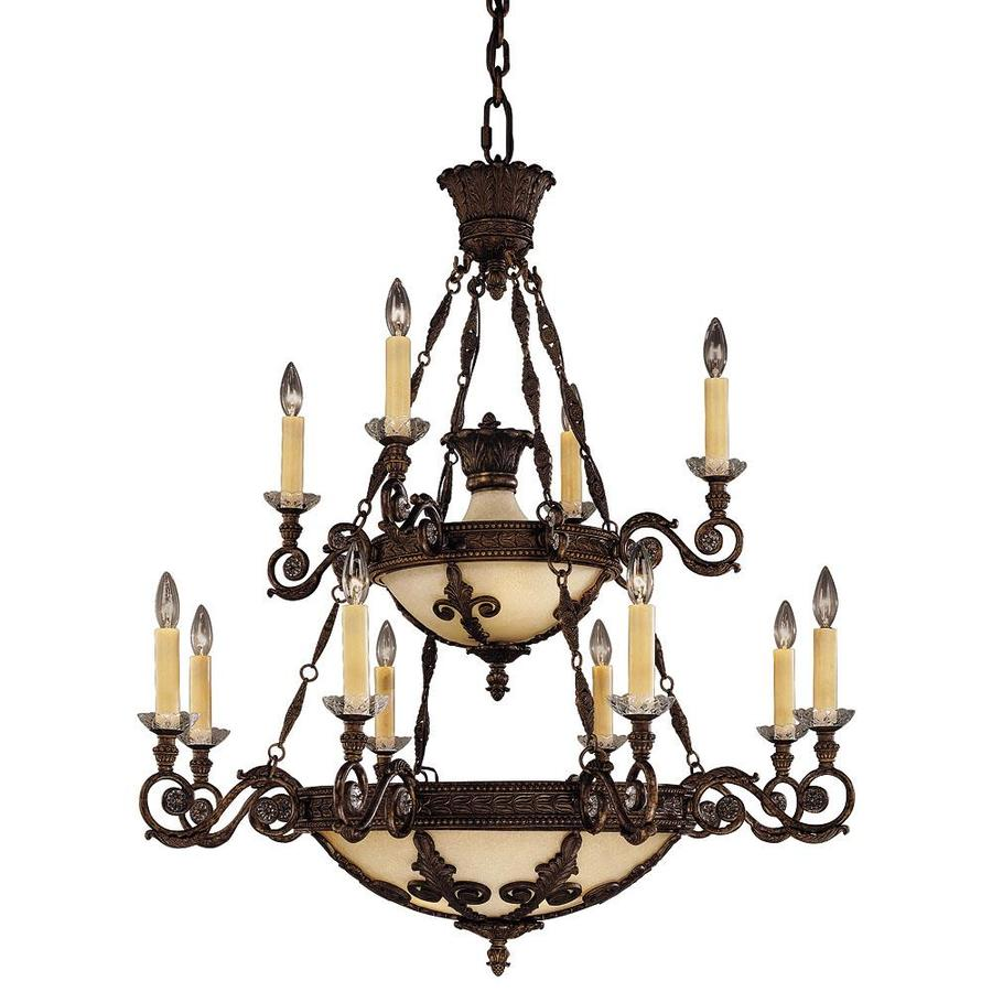 Shandy 38-in 12-Light New Tortoise Shell Candle Chandelier