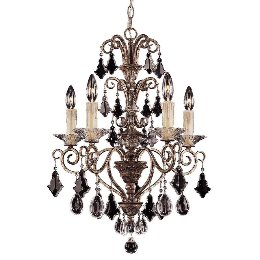Shandy 19-in 5-Light New Mocha Clear Glass Candle Chandelier