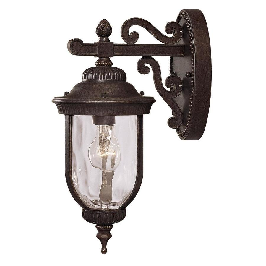 16-in H Walnut Patina Outdoor Wall Light