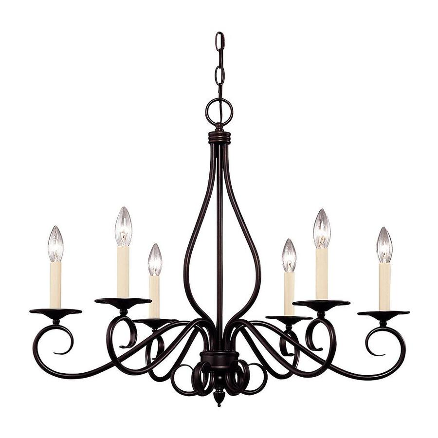 Shandy 25-in 6-Light English Bronze Candle Chandelier