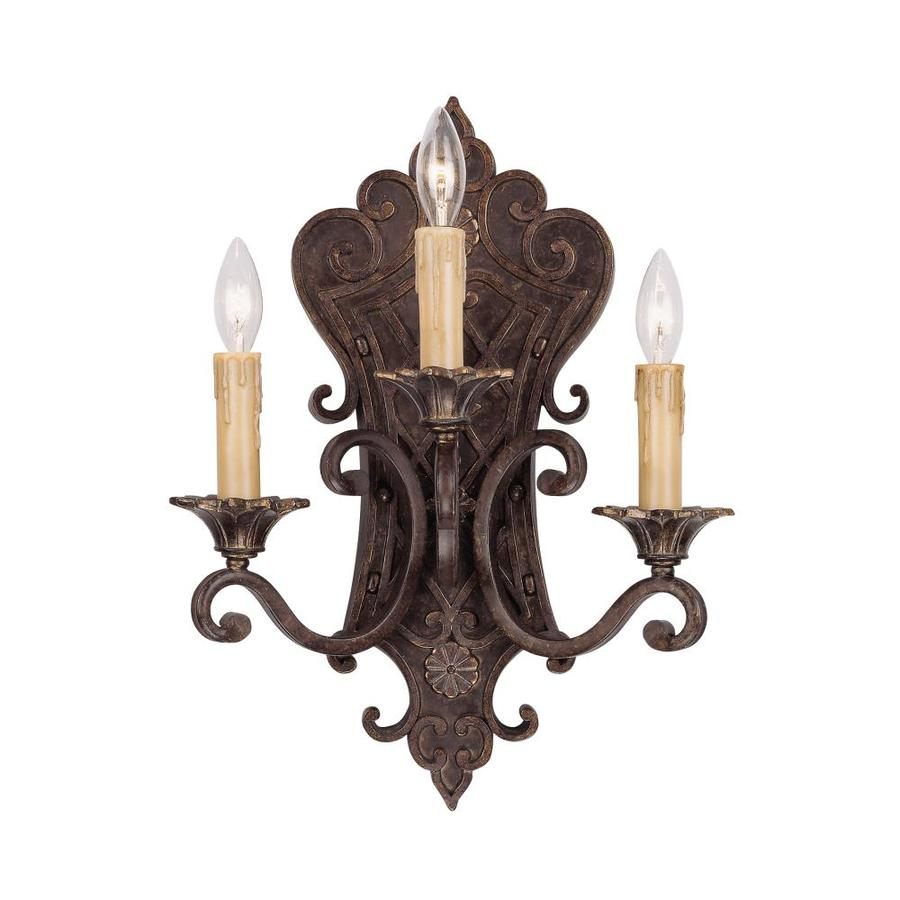 Lowes Tiffany Wall Sconces : Shop Shandy 13-in W 3-Light Florencian Bronze Arm Wall Sconce at Lowes.com