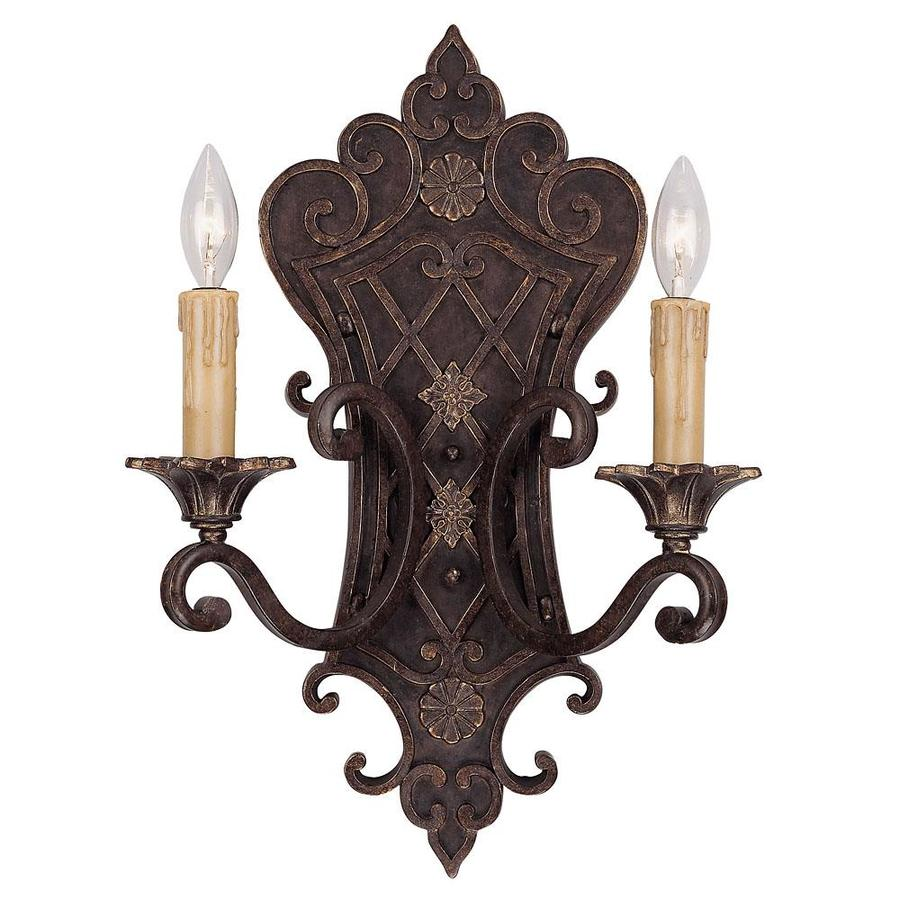 Shandy 13.5-in W 2-Light Florencian Bronze Arm Wall Sconce