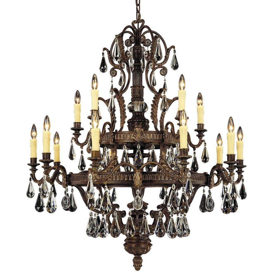 Shandy 43-in 15-Light Moroccan Bronze Clear Glass Candle Chandelier