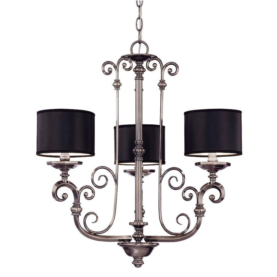 Shandy 24.25-in 3-Light Brushed Pewter Candle Chandelier