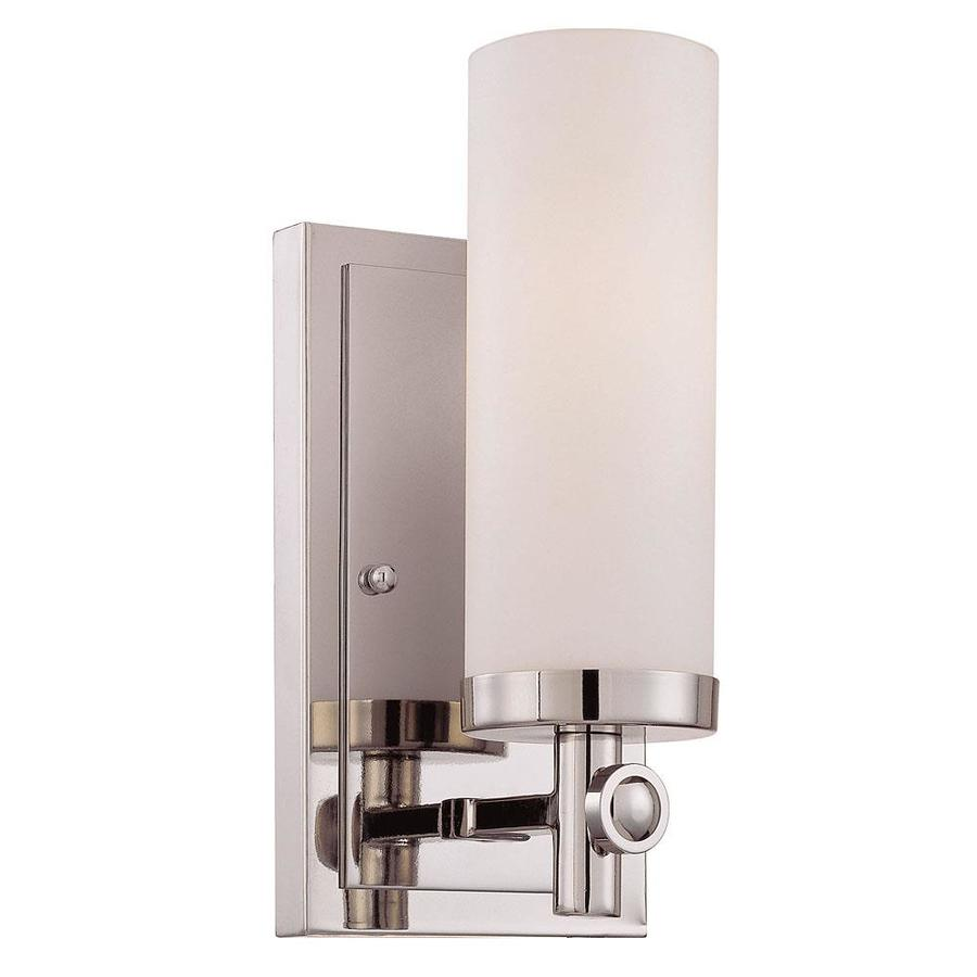Shandy 4.5-in W 1-Light Polished Nickel Arm Hardwired Wall Sconce