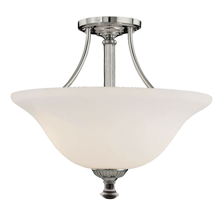 15-in W Polished Nickel Frosted Glass Semi-Flush Mount Light