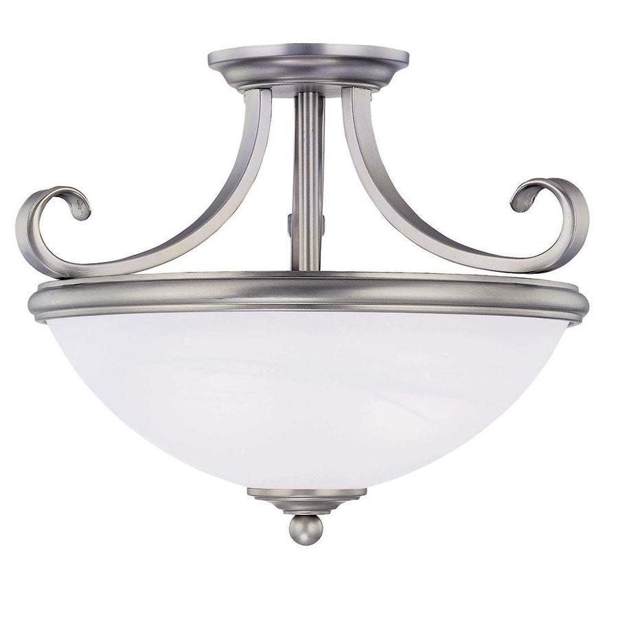15.25-in W Pewter Frosted Glass Semi-Flush Mount Light