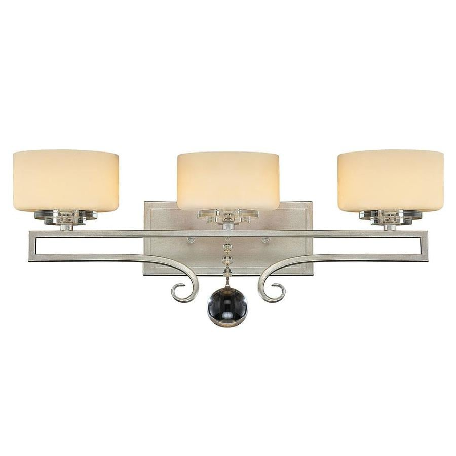Bathroom Light Fixtures Silver shop shandy 3-light 8.63-in silver sparkle vanity light at lowes