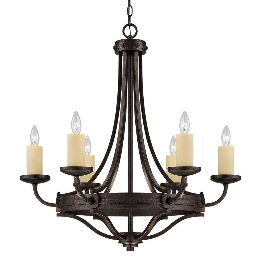 Shandy 29-in 6-Light Oiled Copper Bronze Candle Chandelier