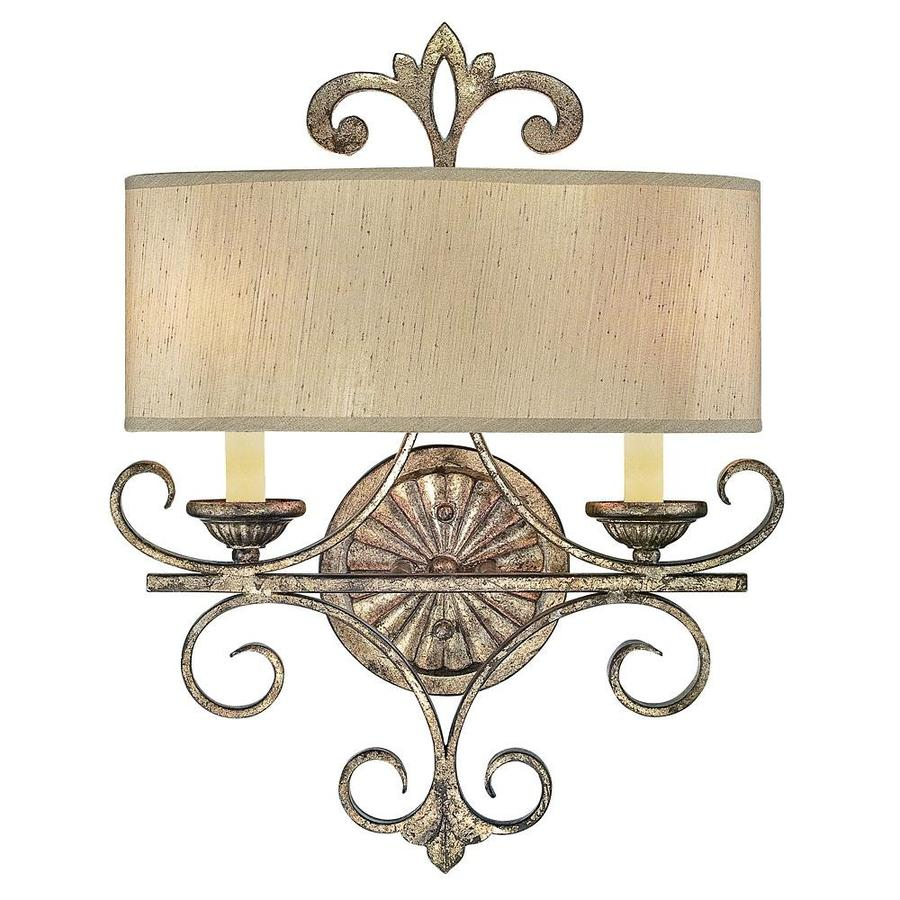 Shandy 15-in W 2-Light Oxidized Silver Arm Hardwired Wall Sconce
