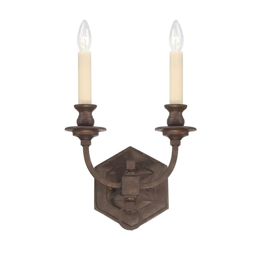 Shandy 11-in W 2-Light Heritage Bronze Arm Hardwired Wall Sconce