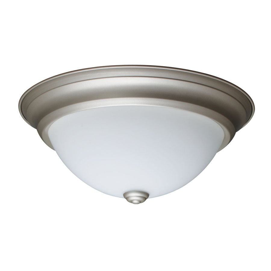 Project Source 13-in W Nickel LED Flush Mount Light