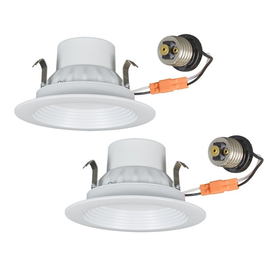 Utilitech Pro 2 Pack 50 Watt Equivalent White Dimmable Led Recessed Retrofit Downlights
