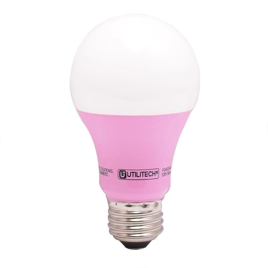 shop utilitech 40 w equivalent pink a19 led decorative light bulb at. Black Bedroom Furniture Sets. Home Design Ideas