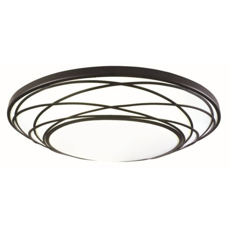 Shop flush mount lighting at lowes portfolio 1911 in w black led flush mount light aloadofball Image collections