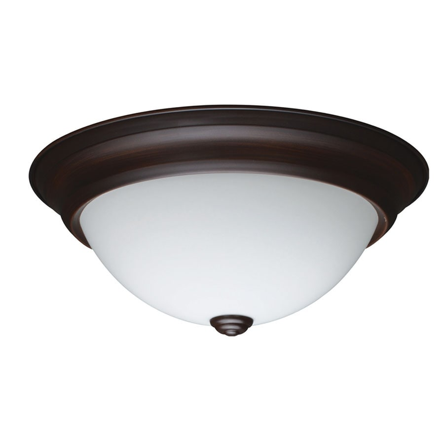 Project Source 13.27-in W Bronze LED Flush Mount Light ENERGY STAR