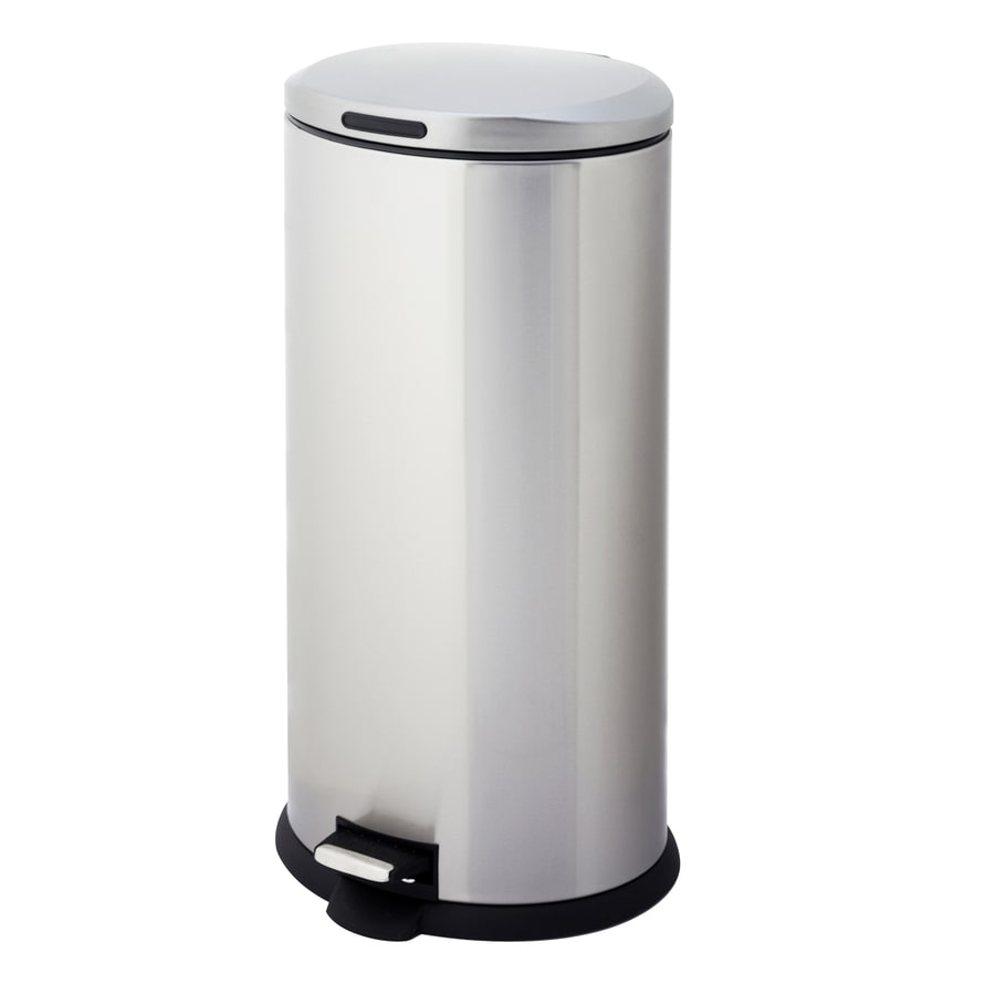 Style Selections 30-Liter Stainless Steel Oval Steel Trash Can with Lid