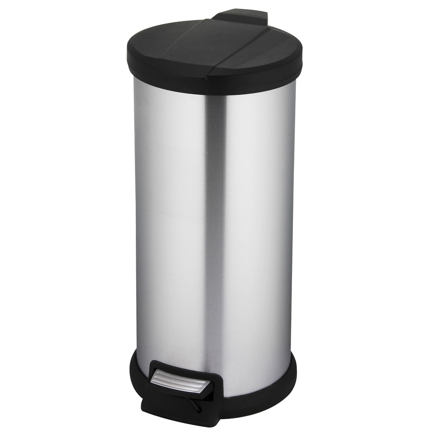 Style Selections 30-Liter Stainless Steel Round Steel Trash Can with Lid