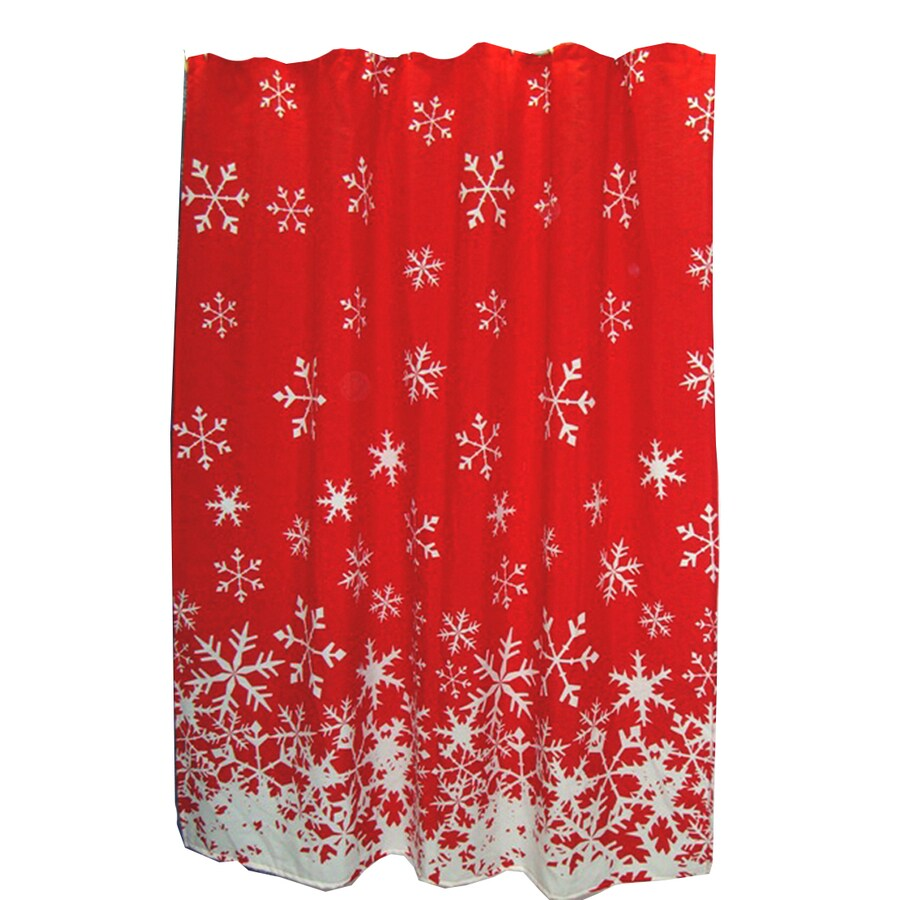 Style Selections Polyester Snowflake Pattern Shower Curtain