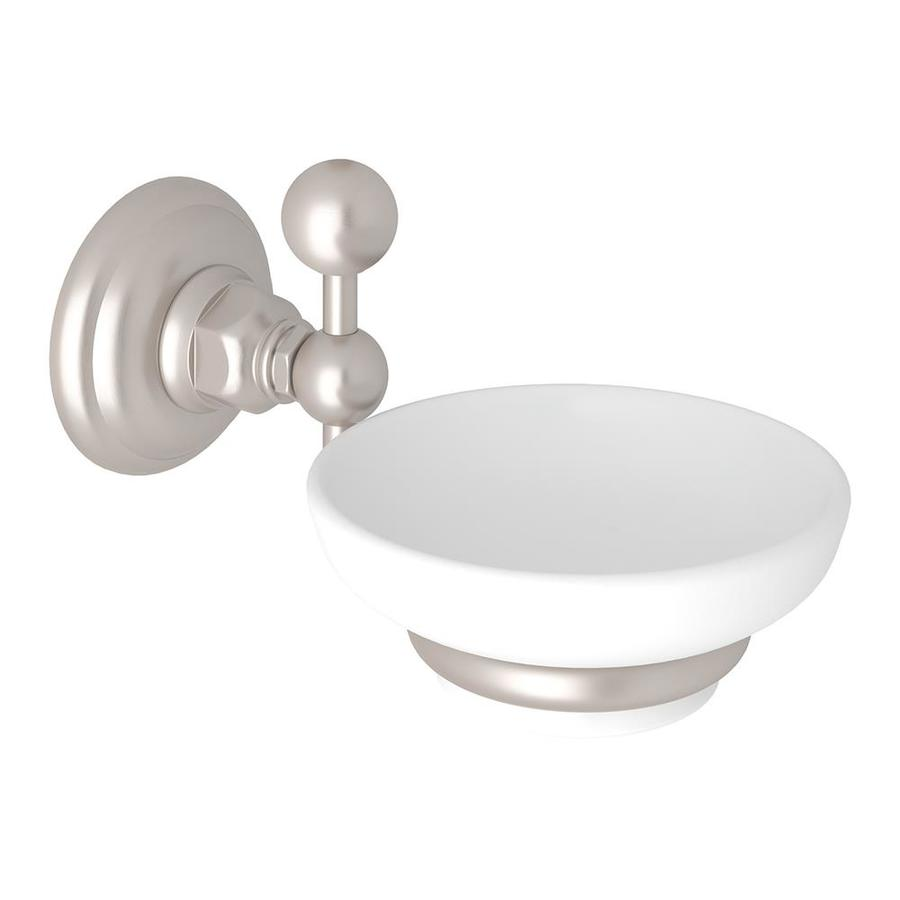 Rohl A1487STN Italian Bath Wall Mounted Soap Dish Holder With White  Porcelain Tray, Satin Nickel