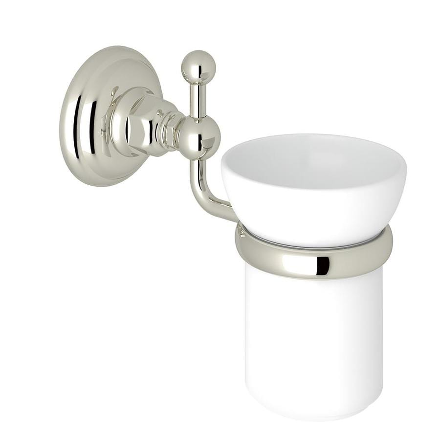 Rohl A1488PN Italian Bath Wall Mounted Single Tumbler Holder With White  Porcelain Tumbler, Polished Nickel