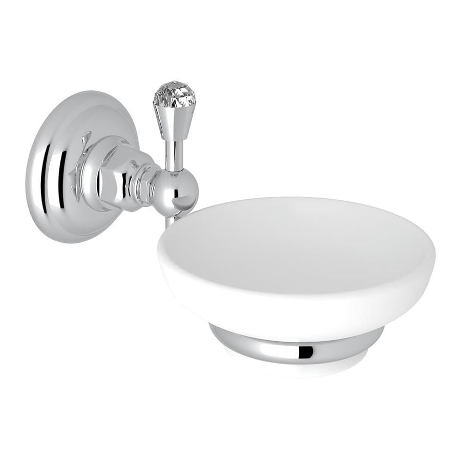 Rohl A1487CAPC Italian Bath Wall Mounted Soap Dish Holder With White Porcelain Tray And Crystal