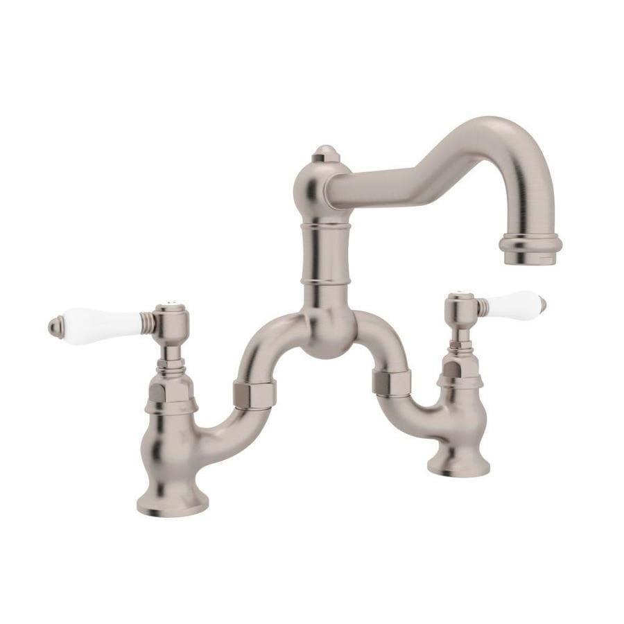 Rohl Country Kitchen Satin Nickel 2-Handle Deck Mount Bridge Kitchen Faucet