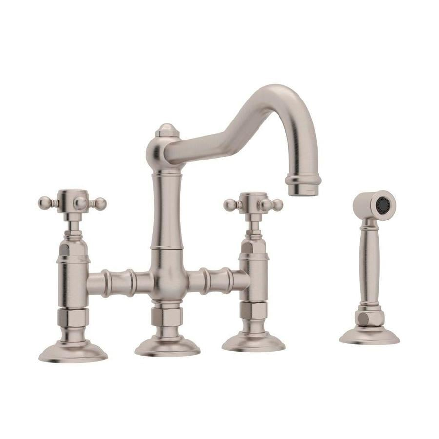 Bridge Kitchen Faucet: Rohl Country Kitchen Satin Nickel 2-Handle Deck Mount