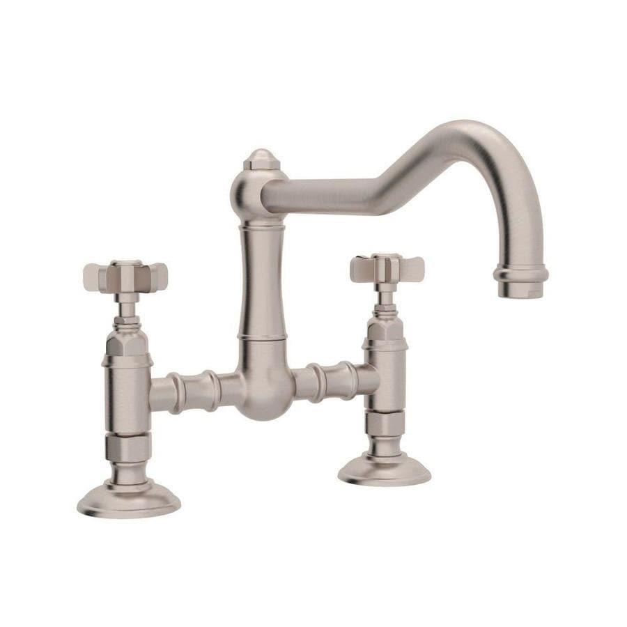 rohl country kitchen bridge faucet shop rohl country kitchen satin nickel 2 handle deck mount 25593