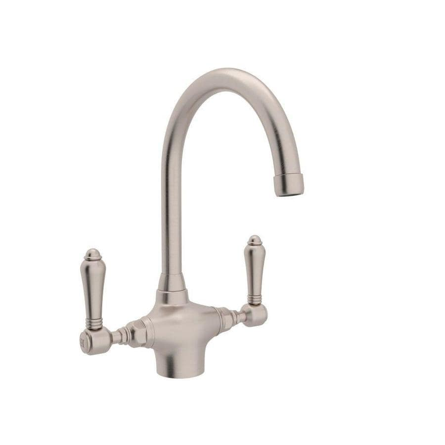 Rohl Country Kitchen Satin Nickel 2-Handle Deck Mount High-arc Kitchen Faucet