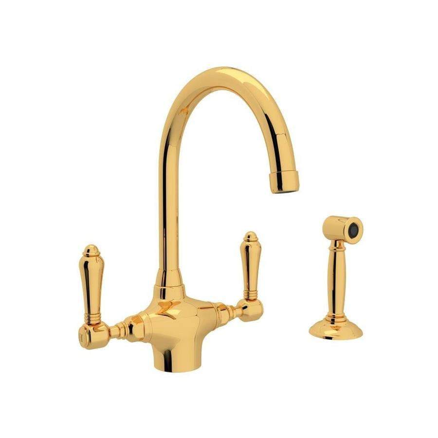 rohl country kitchen faucet shop rohl country kitchen inca brass 2 handle deck mount 21539