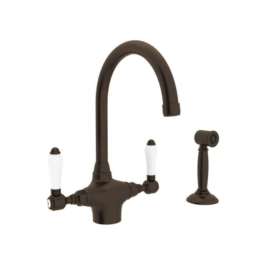 Rohl Country Kitchen Tuscan Brass 2-Handle Deck Mount High-arc Kitchen Faucet