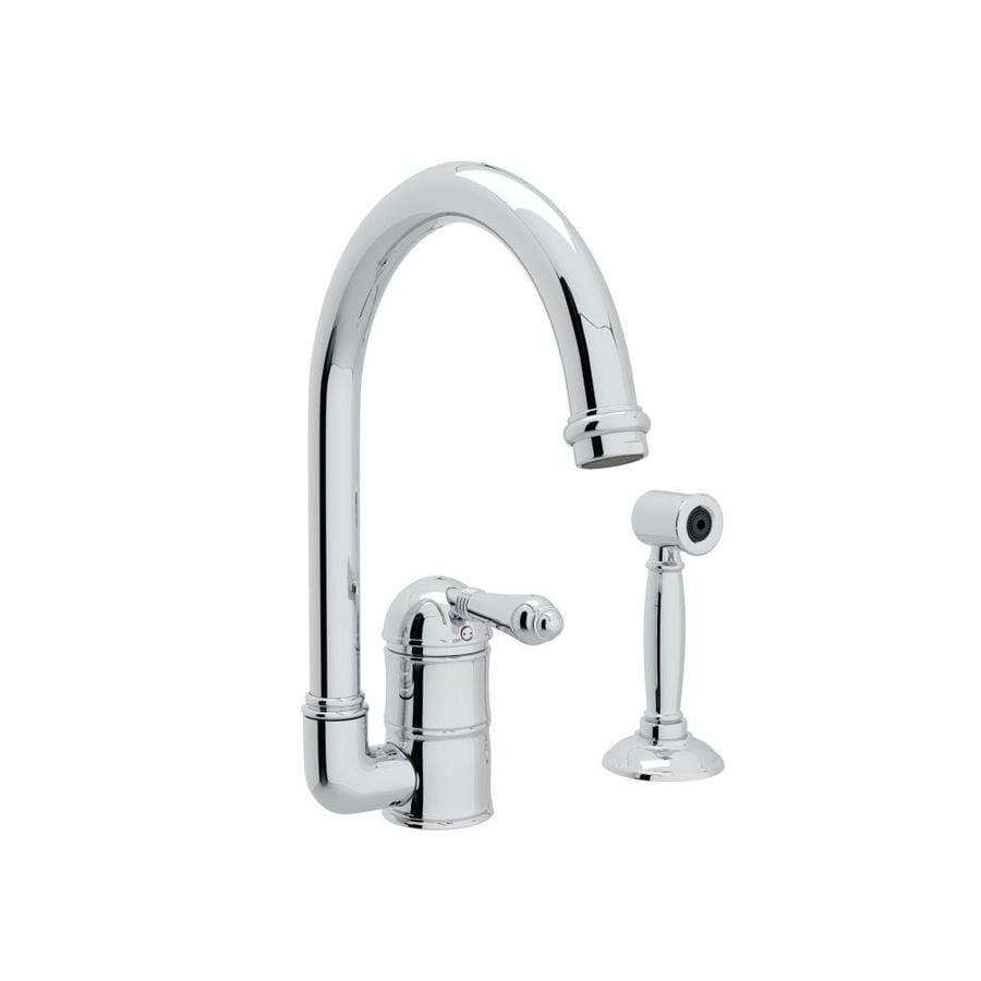 Rohl Country Kitchen Polished Chrome 1-Handle Deck Mount High-arc Kitchen Faucet