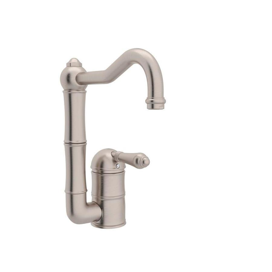 Rohl Country Kitchen Satin Nickel 1-Handle Deck Mount High-arc Kitchen Faucet