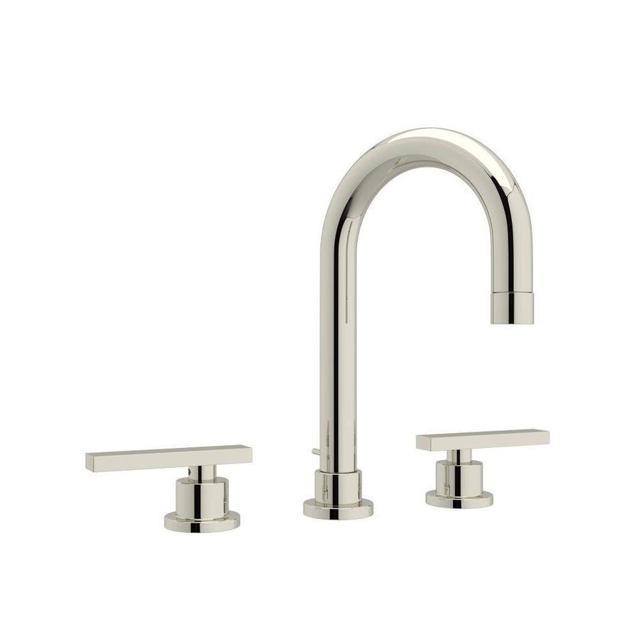 Rohl Modern Polished Nickel 2 Handle Widespread Bathroom Sink Faucet