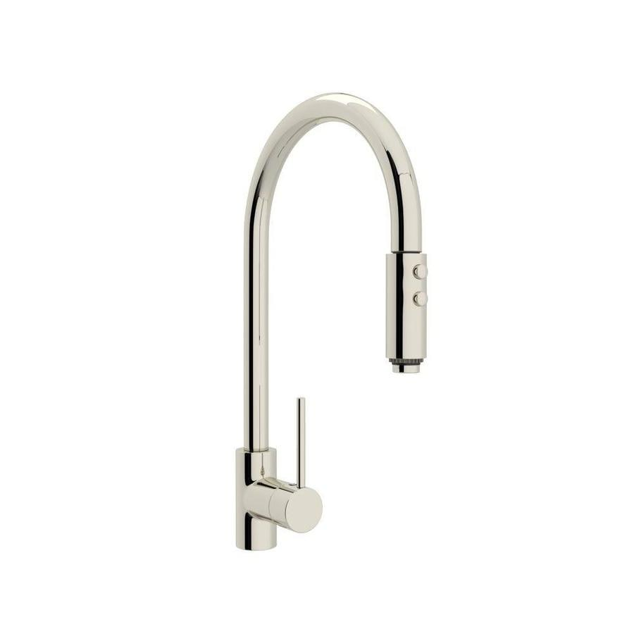 Rohl Modern Kitchen Polished Nickel 1 Handle Deck Mount Pull Down Faucet