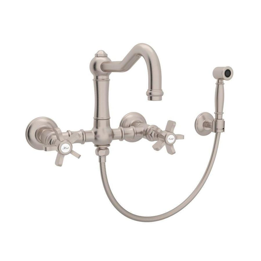 rohl country kitchen bridge faucet shop rohl country kitchen satin nickel 2 handle wall mount 25593